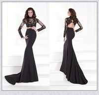 Wholesale Tarik Ediz Hot Sale Two Pieces Black Illusion Lace Long Sleeves Evening Dresses Sweep Train Backless Mermaid Prom Gowns