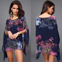 Wholesale Hot New Fashion Bohemian Flower Print Women Casual Chiffon Caftan Poncho Tunic Top Cover up Batwing Blouse Plus Size