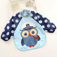 Wholesale baby long sleeves bibs kids waterproof smoc keep clean bib children pinafore Polyester drop