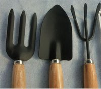 Wholesale large three piece wooden handle iron garden tools gardening supplies shovel rake shovel plant potted flowers