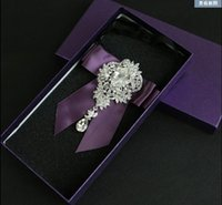 big auger - New Luxurious big diamond pendant groom wedding velvet set auger tie fashionable dress nightclub MC neckties