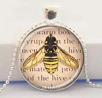 art honey - Queen Bee Jewelry Glass Art Pendant Picture Pendant Honey Bee Necklace