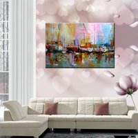 art canvas paper - 20 inch Oil Paintings One Panel Abstract Boats on Shoreside Hand painted Canvas Ready to Hang Home Decor Wall Paper Art