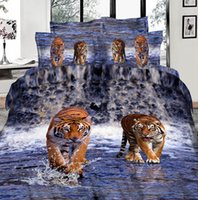 Wholesale 2015 New Cotton Animal Printed Tiger Pattern Design D Bedding Set Full Queen King Size Comforter Set Duvet Cover Bed Sheet