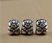 Wholesale panda Charm Beads silver beads for Pandora bracelets necklaces DIY fashion jewelry accessories cheap jewelry WD
