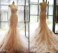 flower appliques - 2015 Unique Real Image Lace Wedding Dresses Long Sleeves Backless Champagne Flowers Sheer Tulle Chapel Train Bridal Gown Custom Made Dress