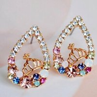 Livraison gratuite Colorful Boucles d'oreilles coeur en cristal Imperial Crown Gold Filled Party Bijoux