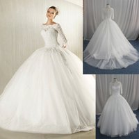 Wholesale 2015 Ball Gown Wedding Dresses with Lace Sweetheart Royal Princess Gowns Train Bridal Wedding Dress YS1027