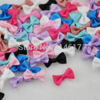 Wholesale Small Satin Ribbon Bows Flower Appliques sew Craft Kid s cloth Upick A0128
