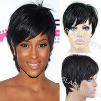 african american celebrity hair - 2015 New Pixie Cut Human Hair Wig Natural Black Rihanna Short Cut Wigs For Black Women African American Celebrity Wigs Hot Sale