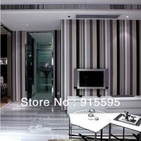 Wholesale Black Grey White Vertical Stripe Exfoliator D PVC Modern Simple Style Mural Wallpaper Roll m W m L