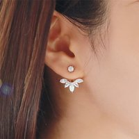 Wholesale New Fashion Korean Gold and Silver Plated Leave Crystal Stud Earrings Fashion Statement Jewelry Earrings for Women pc Free Ship