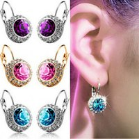 Wholesale High quality colours crystal earrings exquisite shiny Diamond swarovski earings silver gold plated Fashion jewelry for women girls