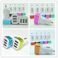 Wholesale Car Charger Car charger Circle Metal v three Adapter USB Car Charger for iPhone s Mobile Phone iPad xiaomi intelligent Charging A