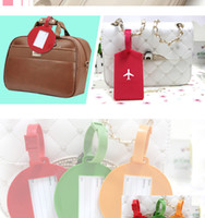 airplane shaped candy - 2015 Newest style Fashion Silica Gel Luggage Tag Airplane Pattern Rectangle Round Shape Label Bags Tags Candy Colors B1