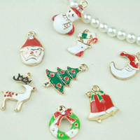 Wholesale Christmas Gifts New Year Gift Oil drip Process Pendant for Necklace Or Bracelets Alloy accessories Pendant Charm Jewelry Findings