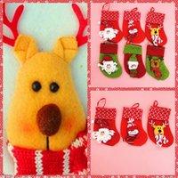 bear christmas stocking - Top One Christmas Gift Styles Socks Christmas Gift Bags Red Green Santa Snowman Deer Bear Lovely Sockings Large Decals Gift Socks