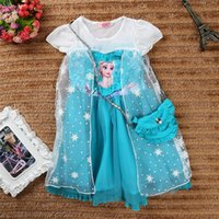 backpack cartoon images - 2014 Winter Frozen dress Children s dress frozen dress cartoon Elsa blue girls with cute backpack Christmas gifts Party dresses