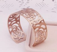 Wholesale Female K rose gold bracelet exaggerated titanium hollow Camellia prize on the opening does not fade girlfriend gift