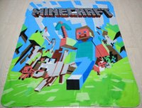 Wholesale Minecraft Design D Bedding With Kinds Anime Cartoon Design of Style and Double Sided Velvet Fabrics Baby Hold Blanket Nap Quilt