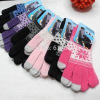 Wholesale 1000 Pais a Fashion intensification Unisex Winter gloves Warm Knit Wrist Gloves Snowflake Mittens