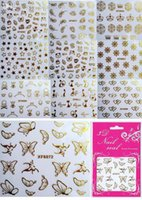 assorted nail decals - New Fashion Sheets Assorted Feather Crown Butterlfy Gold Colors D Nail Art Stickers Finger Decals For