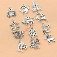 Wholesale Antique Silver Plated Zodiac all Constellation Charm Zinc Alloy Pendant Jewelry DIY Making Accessories Handmade mm M002