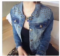 big e jeans - Promotion Hot New FASHION Women s Autumn Korean e rivet denim short jacket Big size Slim jeans jacket women XL XXL XL XL