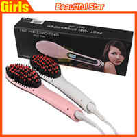 electric comb - Beautiful Star White Pink Straightening Irons Come With LED Display Electric Straight Hair Comb Brush US EU AU UK Plug