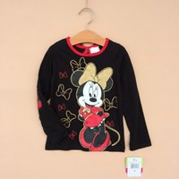 Cheap Miki Minnie Mouse Autumn Children Girls Long Sleeve Tshirts Kids Clothing 2014 Plaid Butterfly Cotton Tshirt Childs Bowknot Tops 6pcs H1852