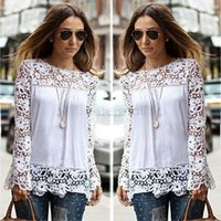 Cheap 2015 Women Summer Spring White tops Crochet Floral Full-Sleeve Chiffon Blouse Lace Shirt Blusas De Renda Camisa Feminina Hot 34