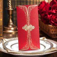 Wholesale Invitations Elegant Personalized Wedding Invitations Cards red cheongsam Pattern Invitation for Weddings
