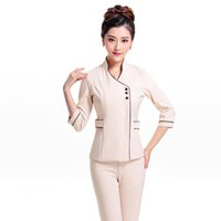 Wholesale Elegant Women Work Suit Hotel SPA Beauty Salon Nurse Uniform Front Desk Solid Work Wears Top And Pants Suit