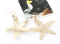 beautiful dangle earrings - Earring for Woman Fashion Jewelry Ear Cuffing Bridal Gold Rhinestone Starfish Beautiful Star Wars Jewelry Starwar Earring Geometric Earrings