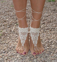 Wholesale Crochet Barefoot sandals Ivory Barefoot Sandles Footless sandles