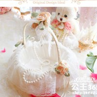 basket case - White Lace Flower Girls Baskets Wedding Bridal Accessories Flowers Stones Wedding Ceremony Party Holy Love Case