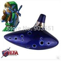 Wholesale New Hole Blue Ocarina Ceramic Alto C Legend of Zelda Cosplay Toy Ocarina Flute Instrument For Children