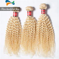 Cheap Premium 8A Grade Virgin Brazilian Curly Hair Weave 613# Platinum Blonde Afro Kinky Curly Human Hair 100-110g Bundle Accept Custom Order