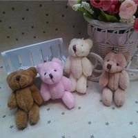 achat en gros de mini-ours en peluche animal-25pcs / lot commun Ours en peluche Mini jouets en peluche avec chaîne gommeux ours 8cm animal pour les animaux empaillés de mariage en peluche bicho ursinho de pelucia