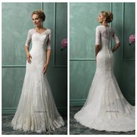 Cheap Gemma Lace 2015 Mermaid Wedding Dresses V Neck Ivory Sweep Train 1 2 Sleeve Covered Button Wedding Gown Amelia Sposa