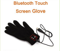 Wholesale Hi Call Smartphone Wireless touch Glove Bluetooth Loudspeaker Gloves Touch Screen without retail box cable black