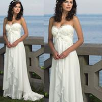 Wholesale Bohemian Wedding Dress Empire Sweetheart Neckline Lace Appliques Ruffle Chiffon Floor Length Beach BOHO Wedding Gowns