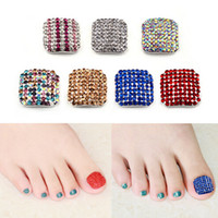 Wholesale PC Luxury D Colorful Glitter Rhinestone Alloy Toe Nail Art Decoration Full Cover Nail Tips Fake Toenails DIY for BIG Toenails