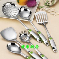 Wholesale New Korean colorful thick stainless steel kitchenware kitchen cooking spatula spoon leakage shovel shovel cooking spoon colander