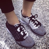 light up products - New product flyknit Racer black white Yin and Yang fly lovers ultra light ultra breathable fly line Retro Running Shoes