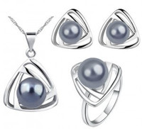Wholesale Top Grade Silver Jewelry Sets Fashion Hot Sale Pearl Earrings Pendants Necklaces Rings Set for Women Girl Gift Free Ship LD
