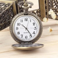 Wholesale Antique Vine Retro Bronze Quartz Pendant Chain Necklace Pocket Watch