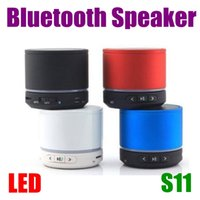 Wholesale S11 LED Bluetooth Speaker Mini Portable Wireless Strong Bass Hi Fi Speakers For HTC Samsung Phone Mp3 Player DHL Free MIS017