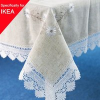 lace tablecloth - 1pcs Linen Table Cloth Lace Flowers Embroiderded Table Cover Square Rustic Tablecloth For Wedding Decorative Home Sizes