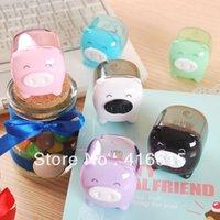 Wholesale Hot sell Stationery lackadaisical shote mini pencil sharpener Pig roll pen device Cute multi function mini pig